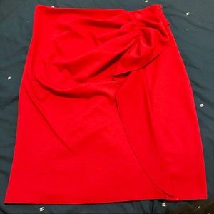 NY&Co Red Ruffle Stretch Pencil Skirt